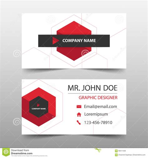 layout for names red hexagon corporate business card name card template