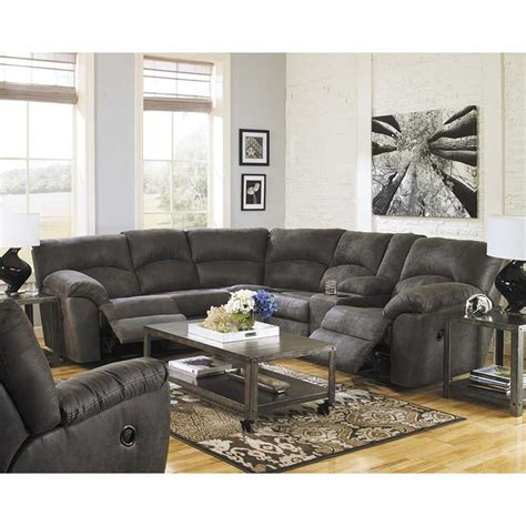 2 piece reclining sectional 2pc pewter reclining sectional 2780148 49 ashley