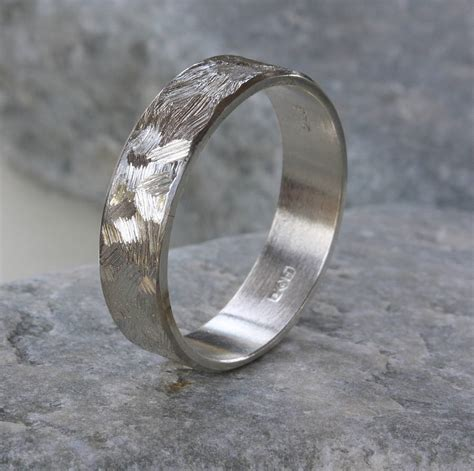 Handmade Silver Ring - handmade unisex textured silver band ring by caroline