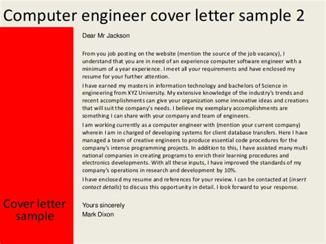 computer engineering cover letter computer engineer cover letter