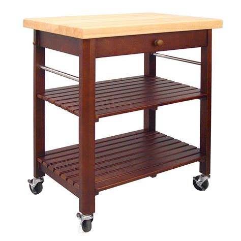 kitchen cart and islands catskill craftsmen cherry stain kitchen cart with shelf 80027 the home depot