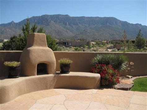 outdoor patio and kiva fireplace adobe homes