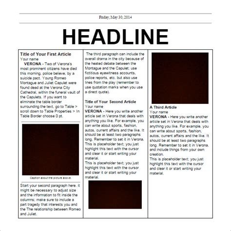 Free Newspaper Template Cyberuse Microsoft Word Newspaper Template