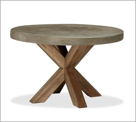 Pottery Barn Patio Furniture Sale Abbott Faux Concrete Top Round Fixed Dining Table Modern