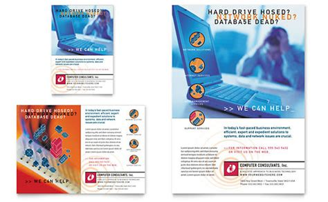 computer brochure templates technology print ads templates designs