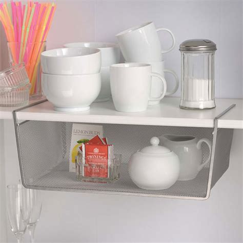 silver mesh shelf storage basket large in