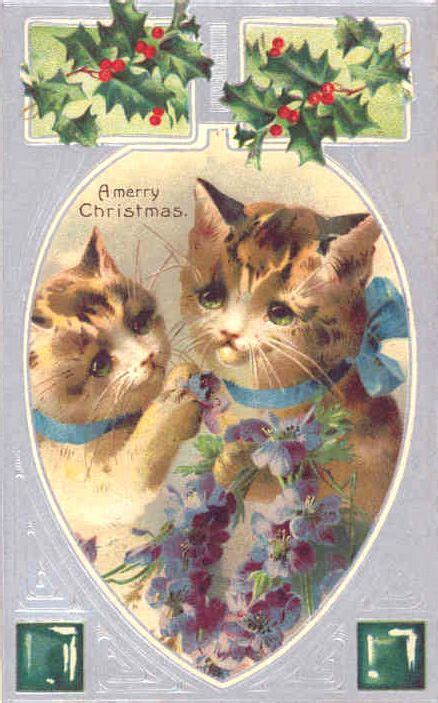 vintage victorian cats christmas card merry christmas cat christmas cards vintage holiday