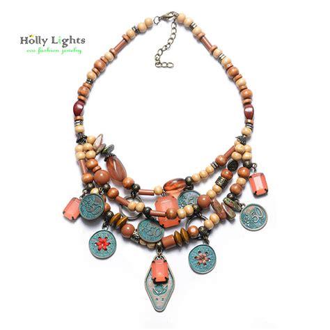 Perhiasan Fashion Wanita Kalung Choker Liontin Manik modern wood jewelry beli murah modern wood jewelry lots