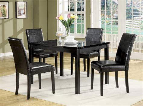 marble dining room table sets portland black faux marble top 5pc pack dining table set