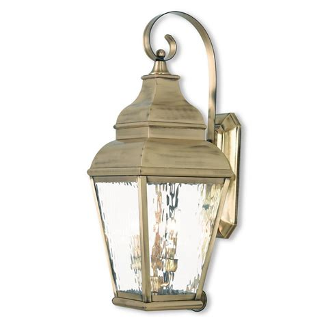 Antique Brass Outdoor Lighting Livex Lighting Exeter 3 Light Antique Brass Outdoor Wall Mount Lantern 2605 01 The Home Depot