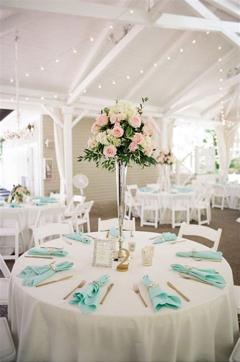 white reception table setting  tiffany blue accent