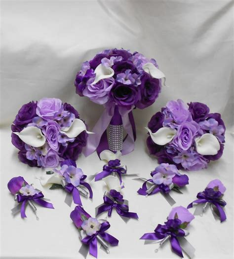 Wedding Bouquet Eggplant by Wedding Silk Flower Bridal Bouquets Package Calla