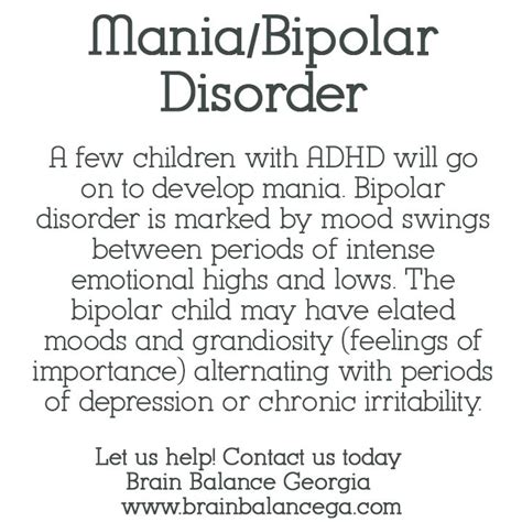 bipolar disorder mood swings mania bipolar disorder a few children with adhd will