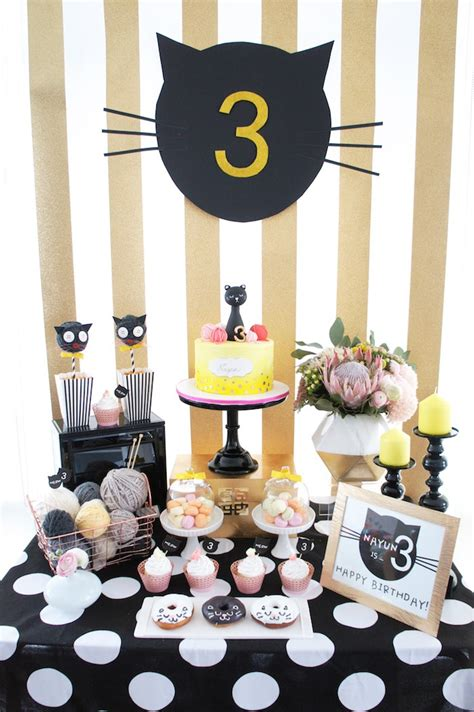 cat themed decorations sweet table from a cat birthday via kara s
