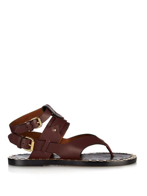 burgundy sandals marant justy leather sandals in purple lyst