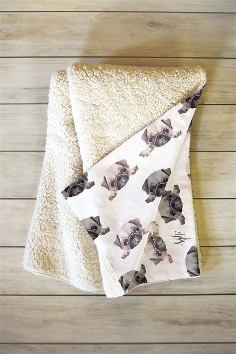 pug blanket pouty pugs fleece throw blanket forest