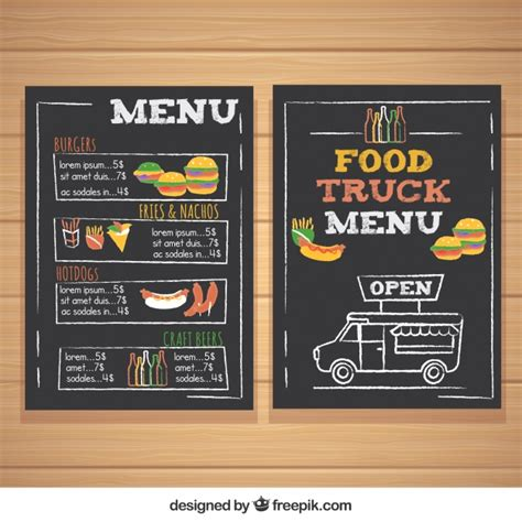 food truck menu template food truck menu with burgers and dogs vector free