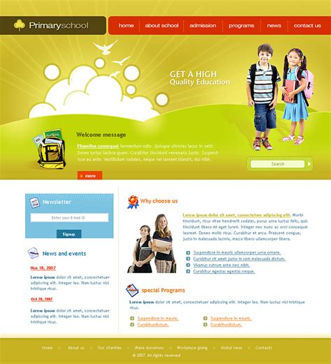 education html templates free premium zencart templates for primary schools