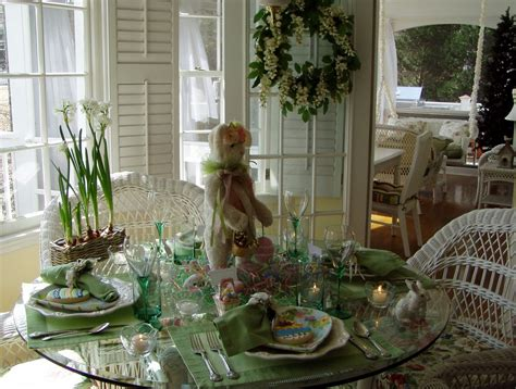 Dining Room Centerpieces Ideas Easter Table Setting Tablescape With Bunny Centerpiece
