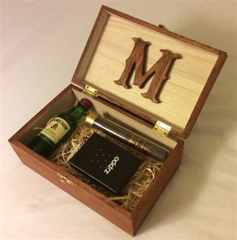 wedding box wood personalized stained wood box groomsman gift box by