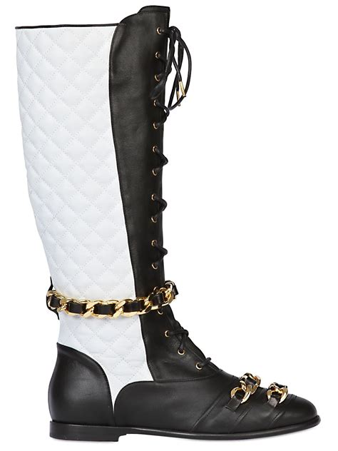 moschino 25mm chain quilted leather boots in black lyst