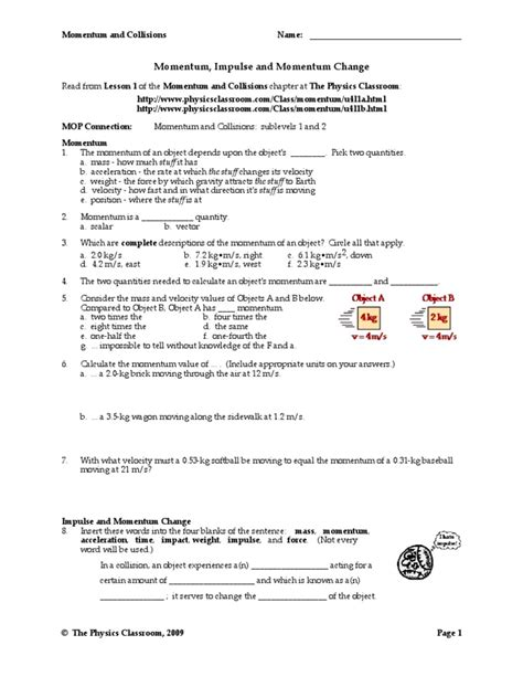 Conservation Of Momentum Worksheet Answers by Worksheets Momentum Worksheet Answer Key Opossumsoft