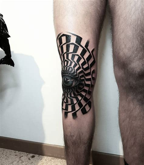 eyeball tattoo on knee op art style eye tattoo on the right knee