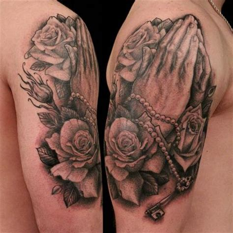 praying hands tattoo with roses education tattoos shawn barber praying