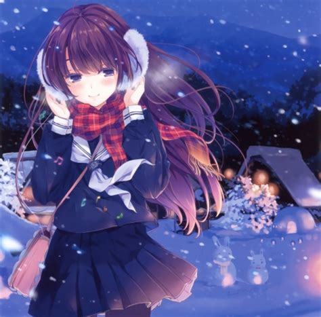 anime girl wallpaper desktop nexus snow night other anime background wallpapers on