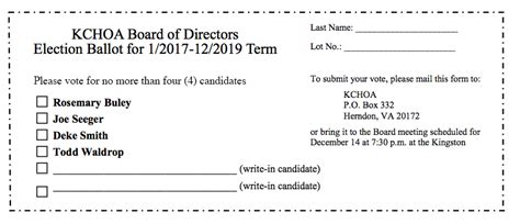 Kingston Chase Hoa Election For Board Of Directors Kingston Chase Home Owners Association Board Of Directors Voting Ballot Template