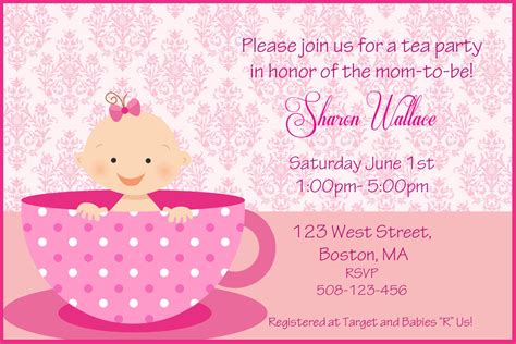 High Tea Baby Shower Invitation Templates by Tea Baby Shower Invitations Xyz