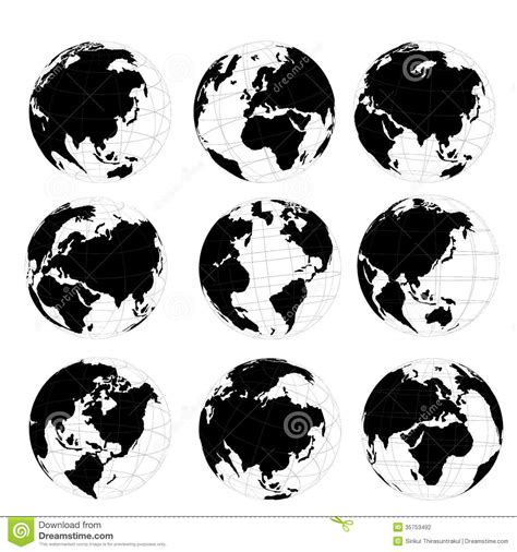 world map black and white vector vector set of 3d world map or globe stock illustration