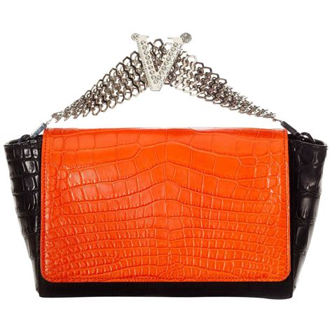 Versace Acrylic Clutch by Versace Crocodile Clutch For Sale At 1stdibs