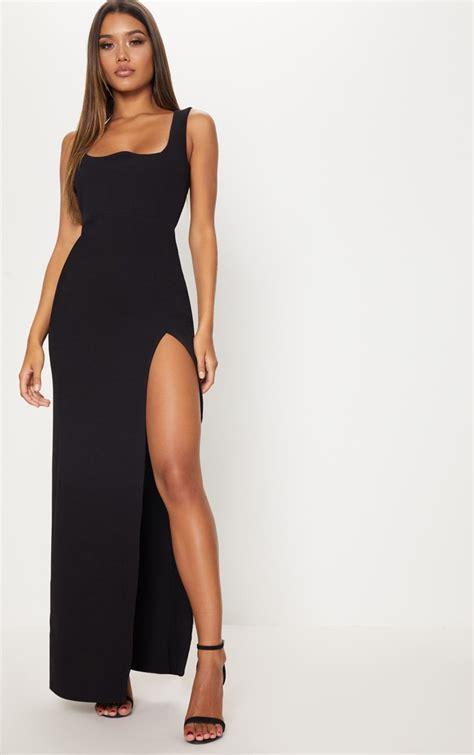 black square neck  cut split leg maxi dress