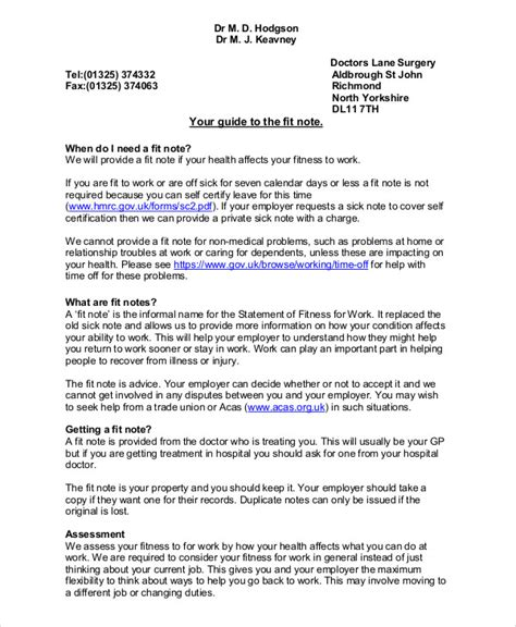 how do you get a doctors note for work fit note sample 8 examples in word pdf