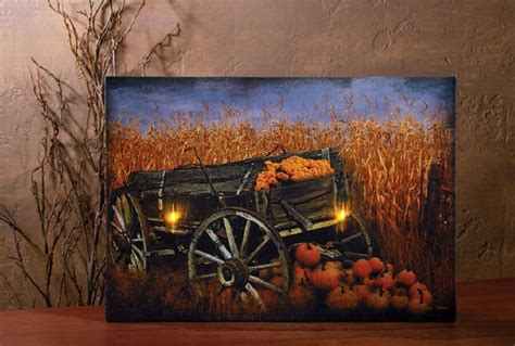 rustic country fall pumpkin  wagon lantern lamp