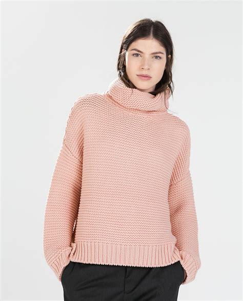 Sweater Zara Zara High Neck Sweater In Pink Lyst