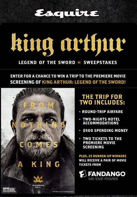 Esquire Magazine Sweepstakes - esquire king arthur movie sweepstakes