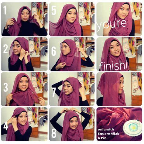 Cara Membentuk Segi Empat cara memakai jilbab modern simple miulan boutique