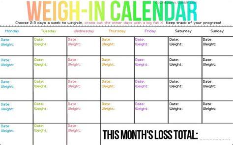 weigh calendar weigh times week