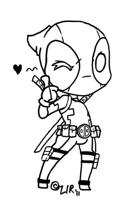 deadpool chibi line art by little imp rin on deviantart
