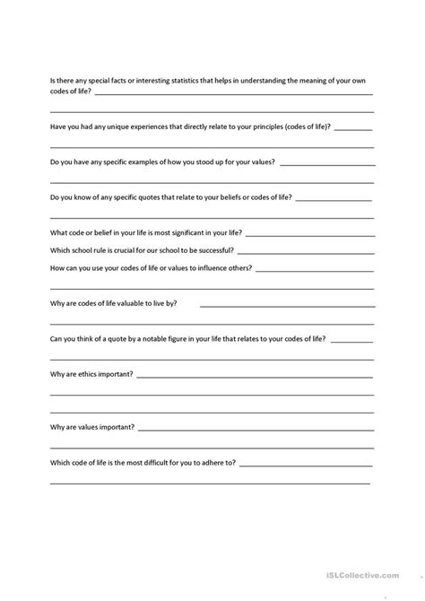 printable character questionnaire interview questions for a character education paper on
