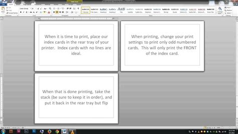 make note cards in word note index cards word template
