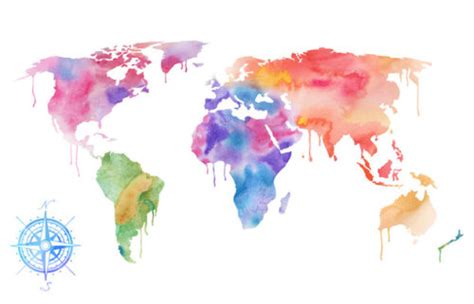 The World In Watercolor by World Map Prints