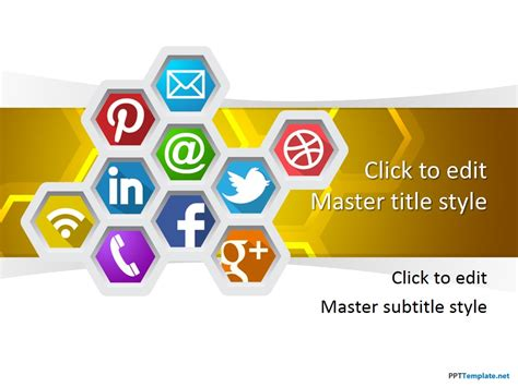 Free Social Honeycomb Ppt Template Media Ppt Templates Free