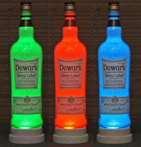 chagne bottle dewars white label scotch remote control color change led