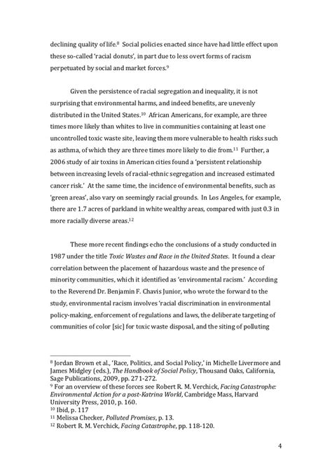 Racial Formation Essay by Environmental Racism And Social Policy Risk And Weight Of History In