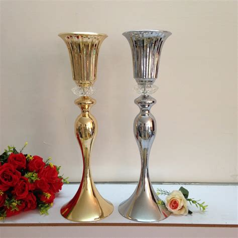 silver centerpieces for table 55cm 21 6 quot wedding flower vase gold or silver table
