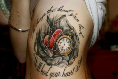 tattoo healing time ribs clock girl heart tattoo text image 185045 on favim com