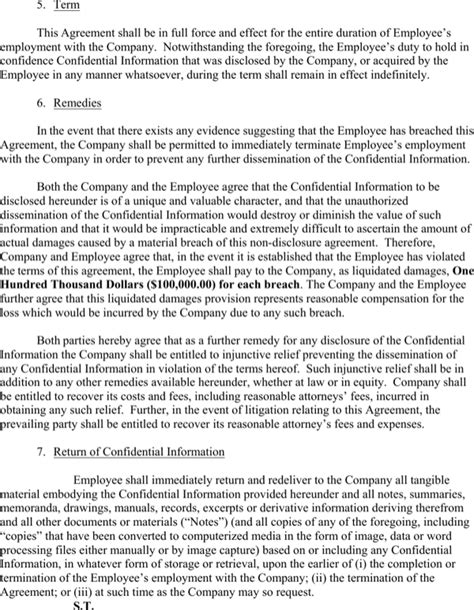 employee non disclosure agreement template employee non disclosure agreement template for